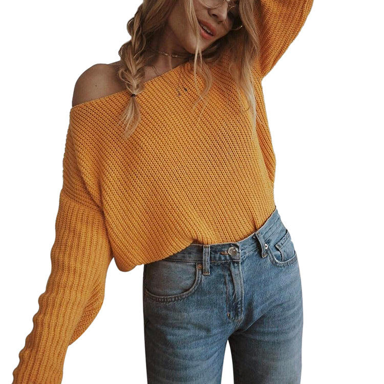 Fancy Pullover Cold Shoulder Yellow Sweater Designs For Women