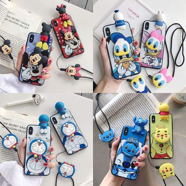 For iPhone 11 Pro Max 11 Pro 11 Xs X 7 8 Mickey Donald Kt Hellokitty Mike Animal Stand Case