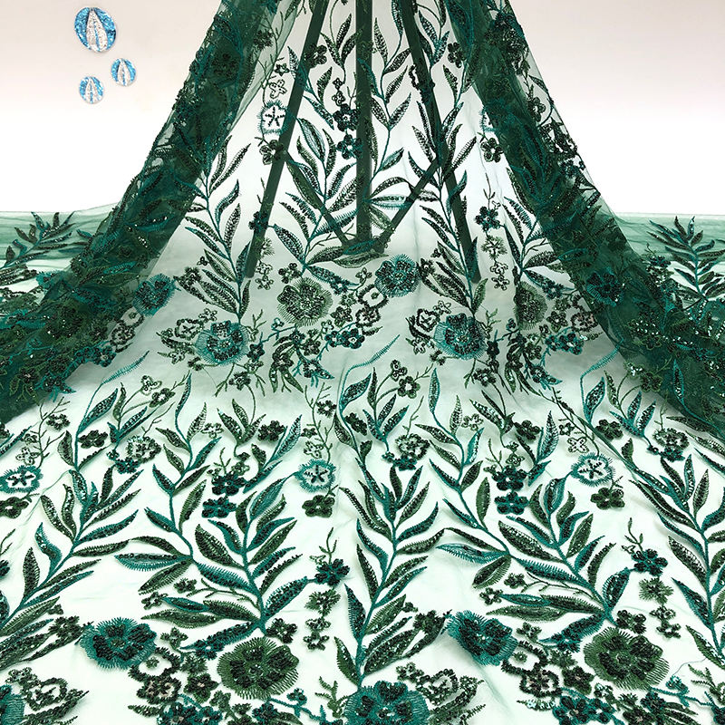 2021 Latest High Quality Teal Green Beaded And Sequins African Embroidery lace fabric