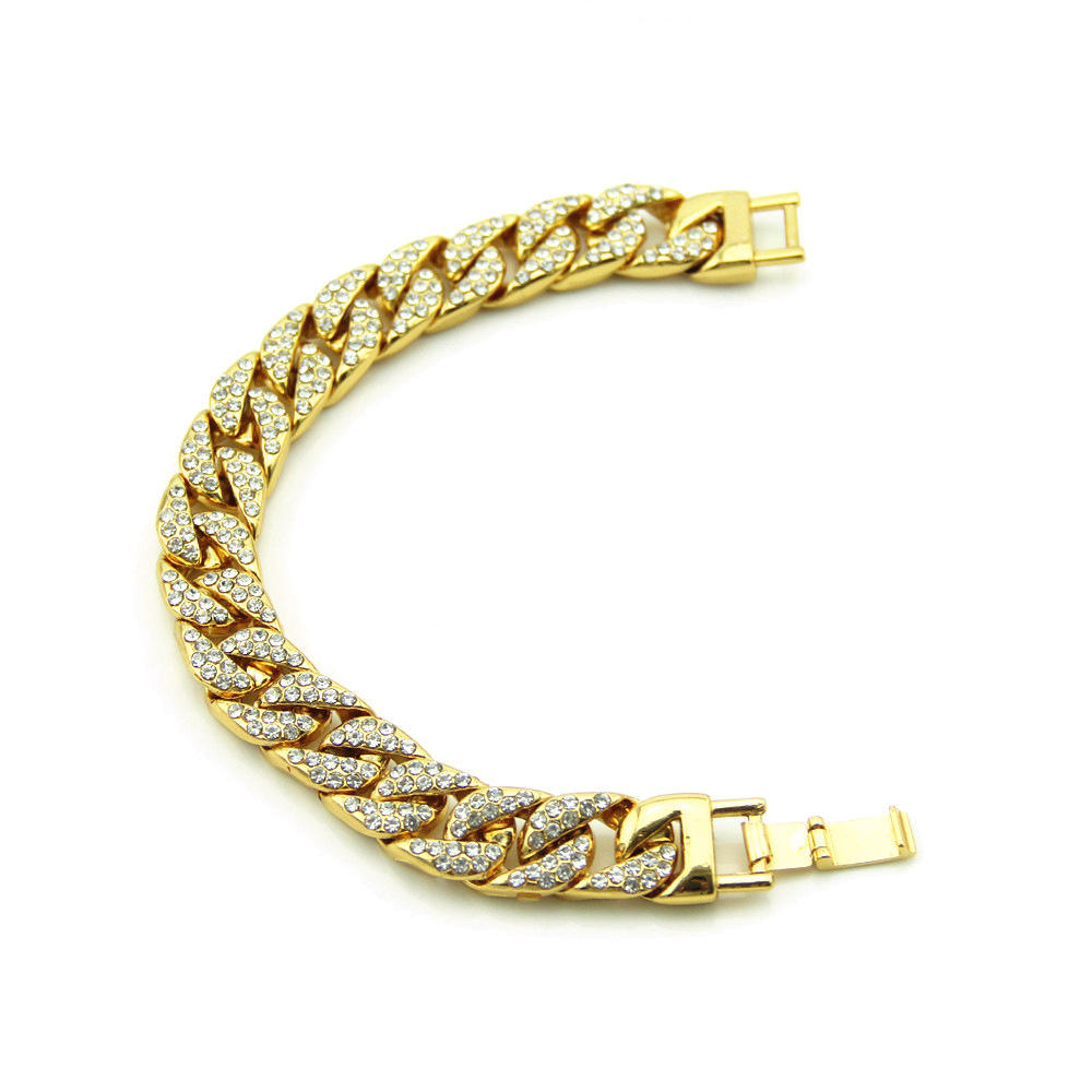Men and Women Chain Hip hop Cuba Bracelet Cuban Silver Gold Plated Bracelet with Clear Rhinestones