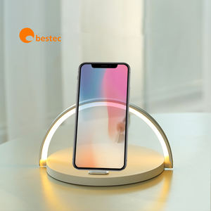 Wood LED lamp mobile phone holder wireless charger