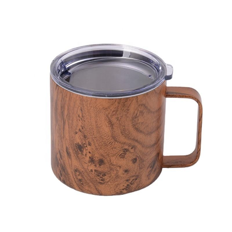 10 Oz Kayu <span class=keywords><strong>Anggur</strong></span> Tumbler Stainless Steel BEER MUG Terisolasi Gelas <span class=keywords><strong>Anggur</strong></span> Kantor Kopi Susu Cangkir Pesta Bottle With Handle