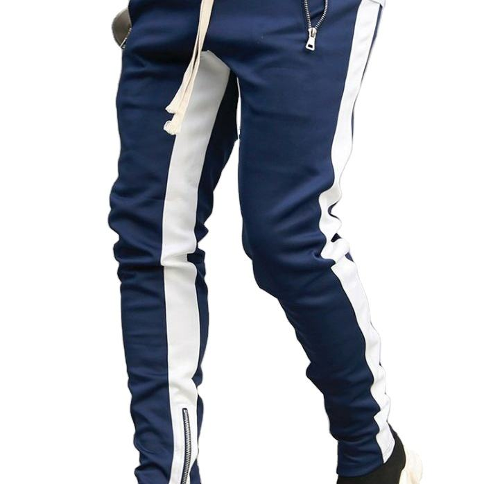 Men Joggers Pants Zipper Pockets Casual Men's Trouser Cotton Jogging Sweatpants