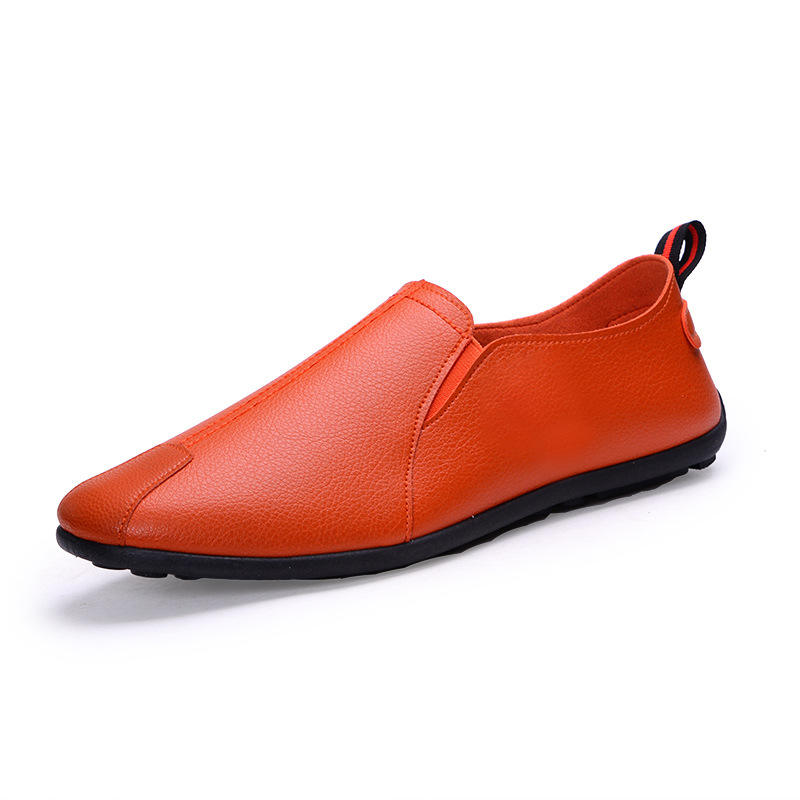 Wholesale Mens Casual Shoes Orange Genuine Leather Shoes For Sale