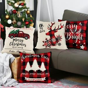 OurWarm New Arrival 45*45 cm Red Black Plaid Christmas Pillow Cover Case For Xmas Home Decor
