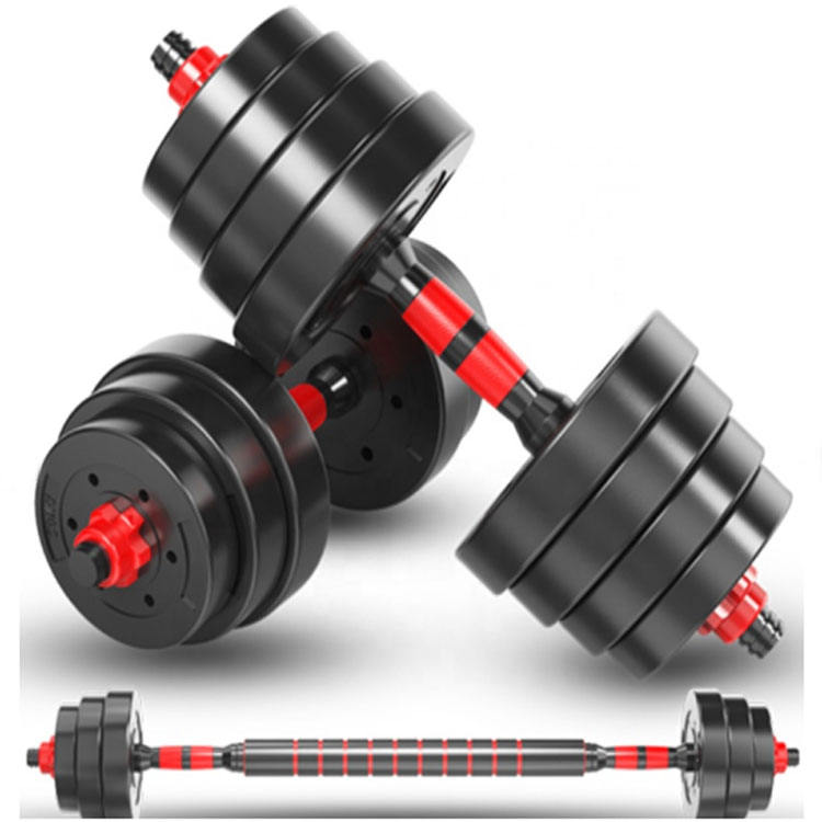 10kg,15kg,20kg,30kg,40kg Gym Home Equipment Plastic Coated Cement Dumbbell to Barbell