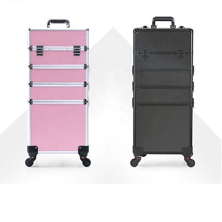 Professional Beauty Rolling 4 in 1 Large Makeup Cosmetic Case on Wheels Makeup Case with Dividers Travel Toiletery Bag