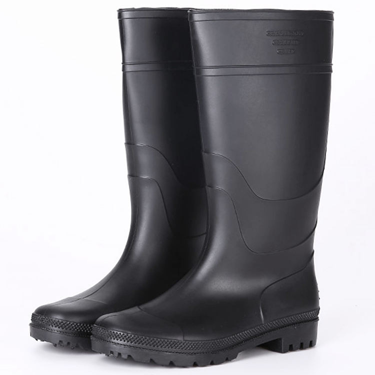 Light weight cheap black non safety pvc work rain boots
