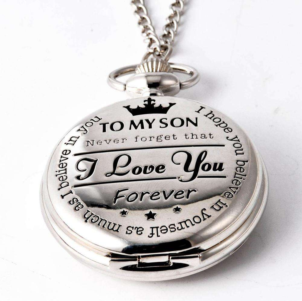 Wholesale Forever Pocket Watch To My Son I Love You Gift to Son Birthday Gift Boys Fob Pocket Watch