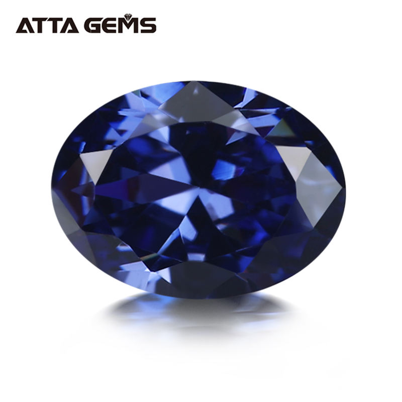Size 2x3~10x14mm Loose Oval Shape Tanzanite Blue Color 5A CZ Stone Synthetic Gems Cubic Zirconia For Jewelry