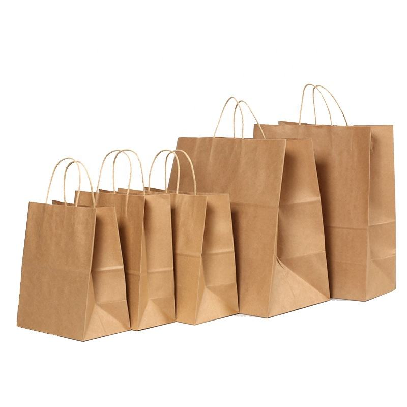 custom logo 100% Recyclable take away cloth shopping gift kraft paper grocery bag Brown kraft paper bag with handle