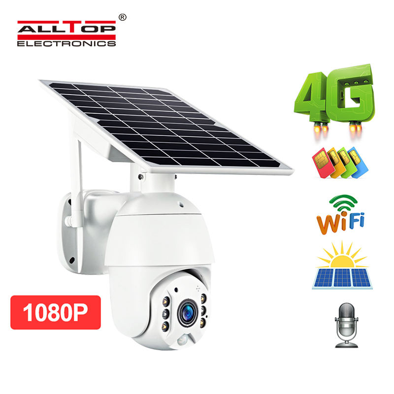 ALLTOP 4g wifi hd ite zoom CCTV cam solar battery powered video surveillance wifi ip outdoor pir solar camera