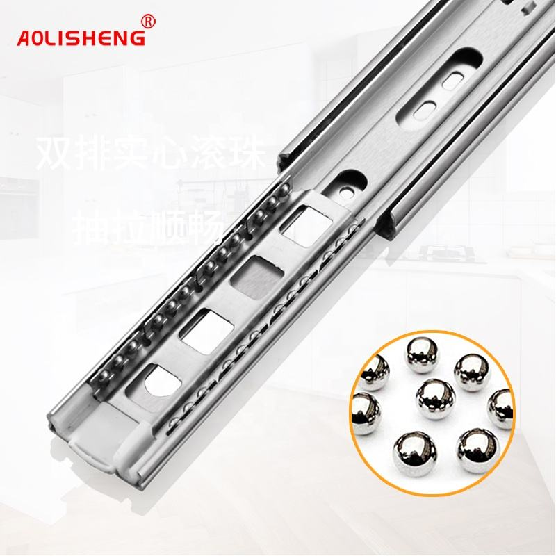 AOLISHENG Inch 3 Fold Slide Full Extension Telescopic Stainless Steel Ball Bearing Cabinet Drawer Slide