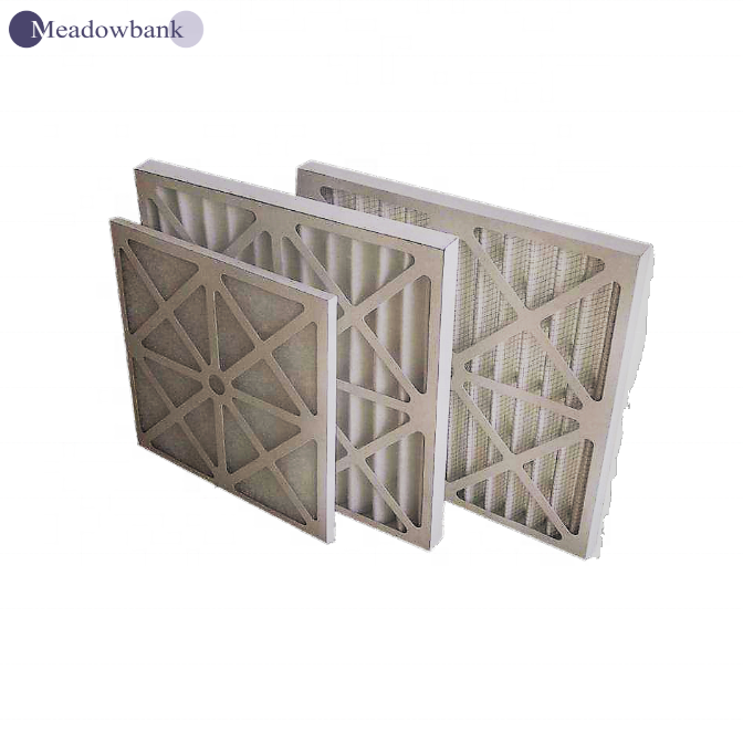 washable G3 G4 waterproof Cardboard Frame flat panel air filter cleanroom AC industry