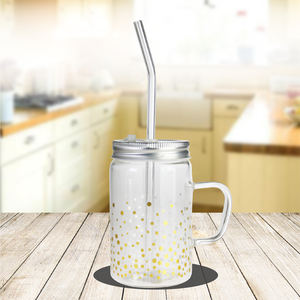 Personalized Sublimation Glass Drinking Transparent Mason Jar Mug with straw