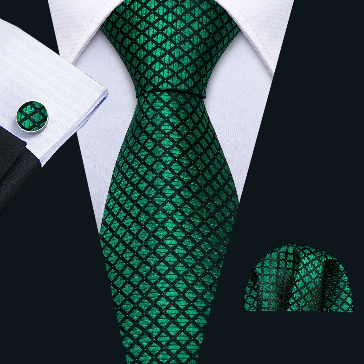 Quality Green Plaid Mens Ties 100 Silk Jacquard Necktie