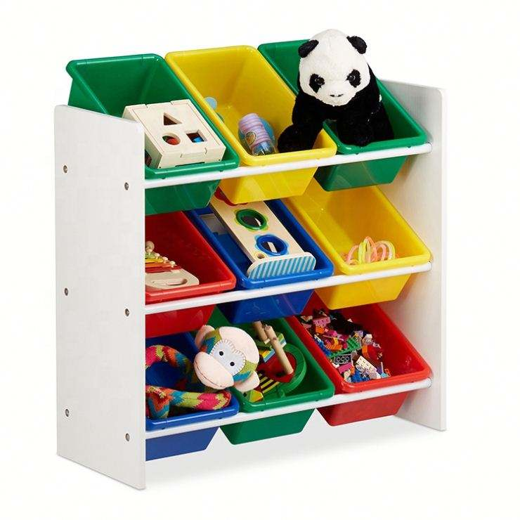 3-Tiers Kids Wooden Design Toy Shelf Toy Organizer for Playroom