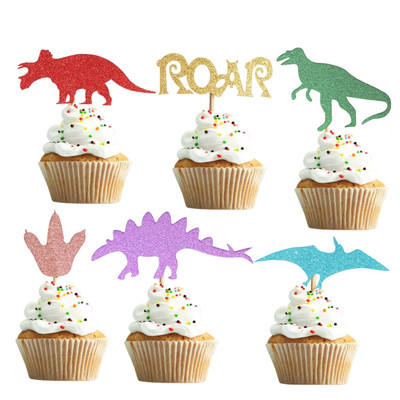 Kids Birthday Baby Shower Party Decorations Gold Glitter Cake Picks Glittery Dinosaur Cupcake Toppers