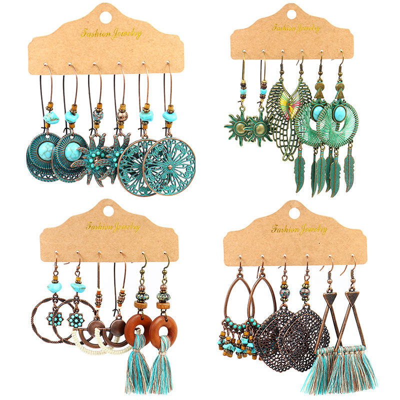 Beach Style Bohemian Feather Dream Catcher Shell Dangling 3 Pairs Turquoise Set Earrings