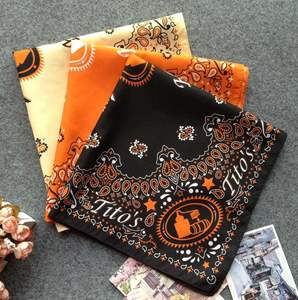 In stock cheap wholesale oem multi colors headwear scarf baumwoll paisley polyester cotton square custom logo printed bandana