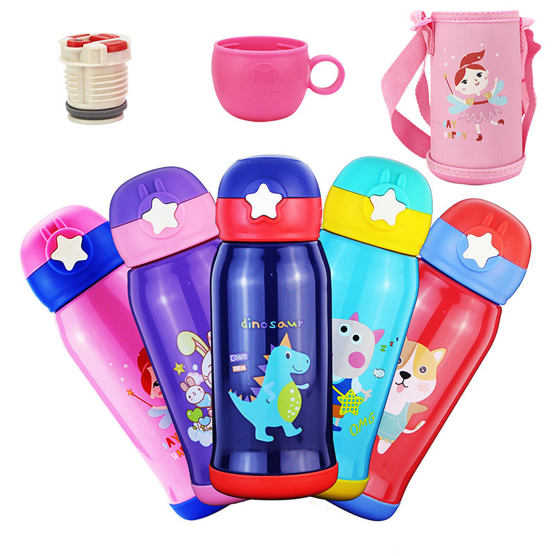 New Cartoon Stars Baby Thermos Unbreakable Stainless Steel Vacuum Flask Straw Children's Bottle