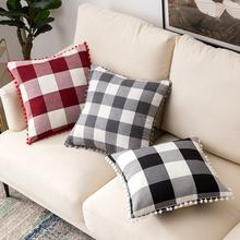 Amazon Supplier Farmhouse Red and White buffalo plaid pillow with Pompom 18 x 18 Inch 45 x 45 cm