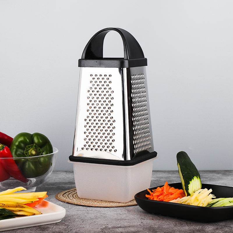 Multi-functional Stainless Steel professional box grater 4 sided vegetable cheese grater