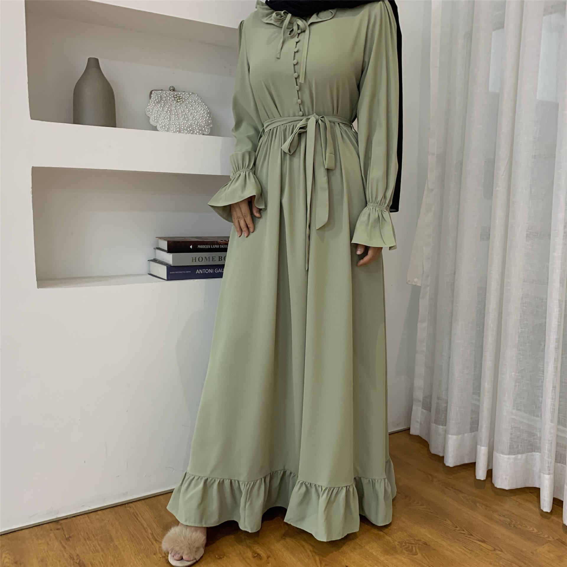 Dress Muslim Perca Warna Solid, Abaya Pesta Malam