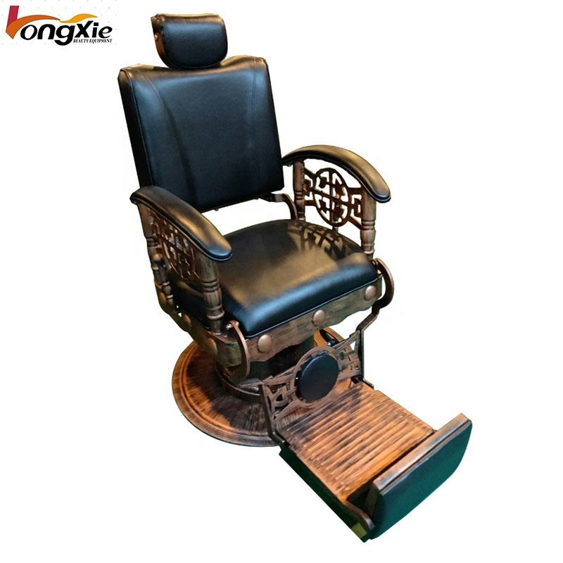 Brown Hydraulic Pump Wood Armrest Barber Chair
