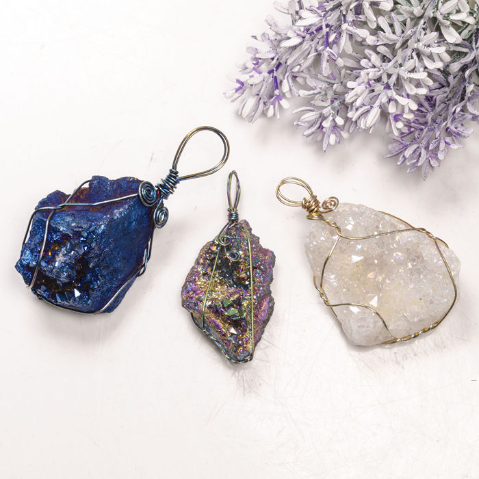 The Hollow Geode Blue Agate Slice Pendant Necklace Gold Plated with an 18 Gold Plated Chain Genuine Solid Agate