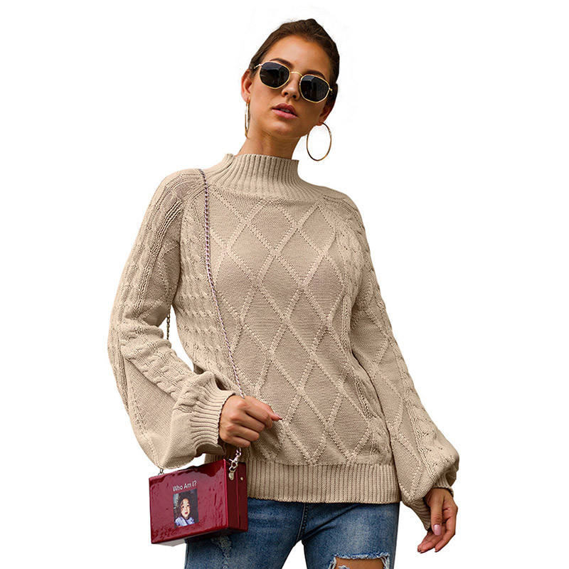 EUR Size Cotton Blend Sweater Winter Ladies Tops Half High Collar Long Sleeve Loose Knit Sweaters