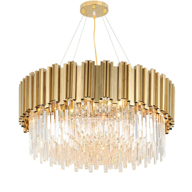 Large Luxury Modern Brass K9 Crystal Chandelier Pendant Light for Hotel Lobby Home