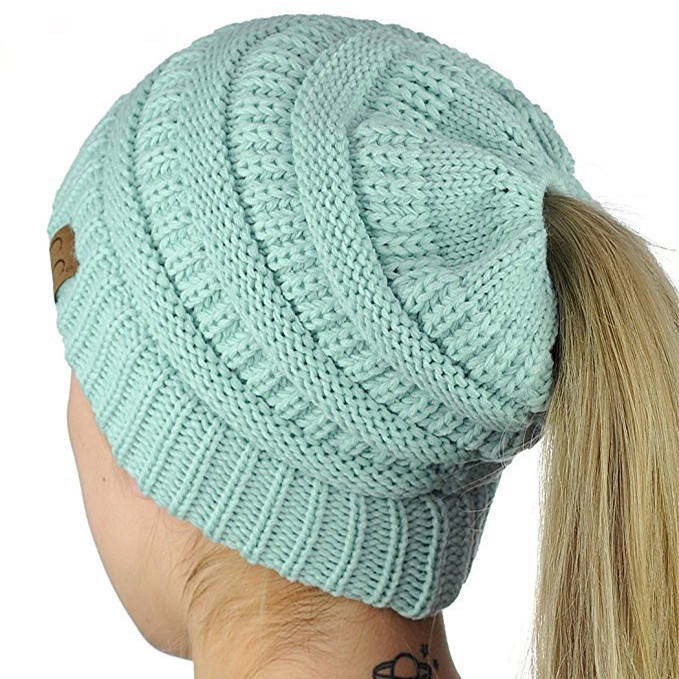 2020 American Autumn and Winter Hats Knitted Ponytail Beanie Women's Beanie