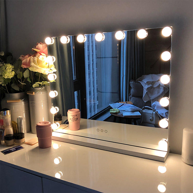 Frameless LED Vanity Mirror With 14 17 Bulbs Hollywood Makeup Lighted Mirror 3 Mode Adjustable Touch Screen Make Up Mirror