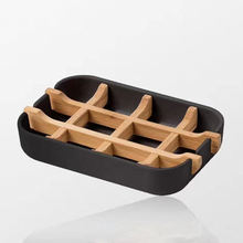 Factory price buy Eco-friendly Bamboo Fiber Soap Holder Dish for Kitchen Bathroom Soap dish Wood White Black Soap Dishes
