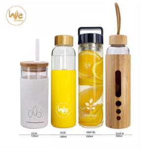 BPA free GS07 17OZ double stainless lid tea double wall infuser glass drink water bottle with tea infuser