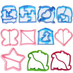 Wholesale Lunch Interesting 10 Shapes Plastic Sandwich Cutter Set DIY Sandwich and Bread Crust Cutters Mould For Kids