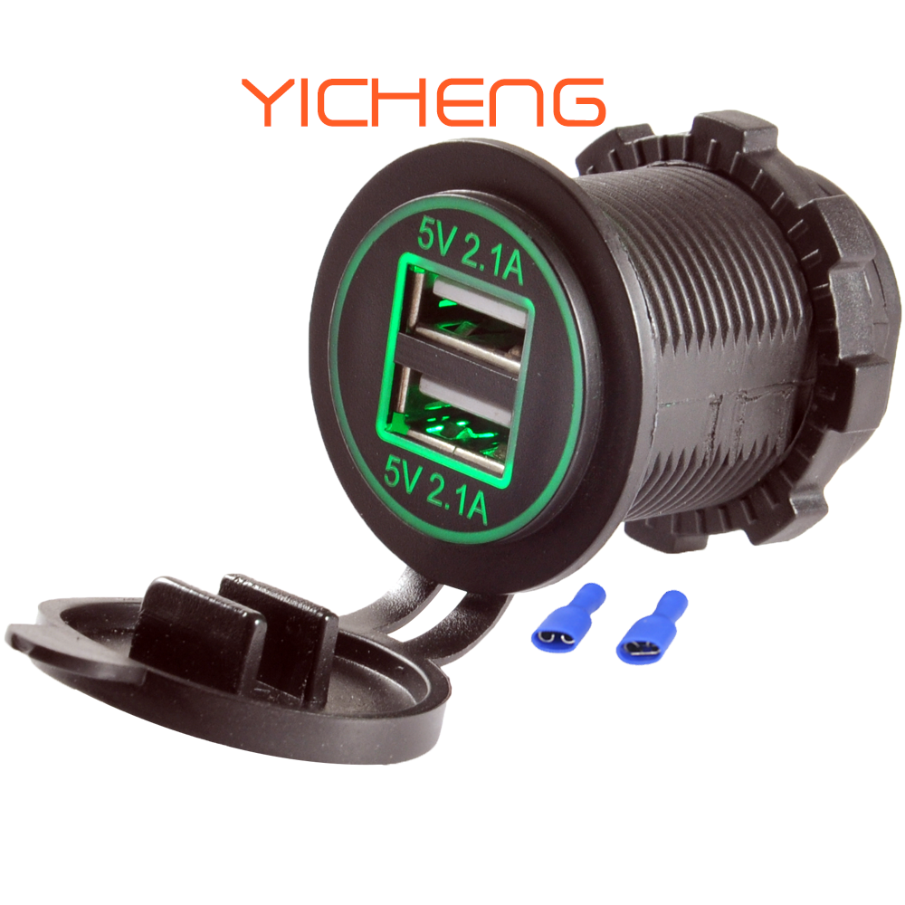 12V 2.1A 4.2A Power Outlet Dual Buchse Auto USB Port für Marine Bus Handy Lade