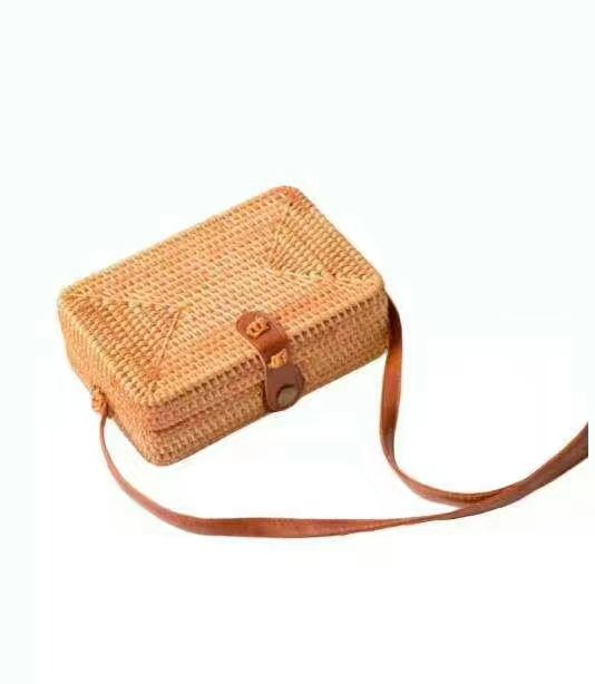 Hot sale bag round wicker bag with a braided leather shoulder strap handbags