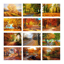 5D DIY Diamond Painting Autumn Forest Path Red Fallen Leaves Art Silk Fabric Poster Print Landscape Wall Living Room Decor