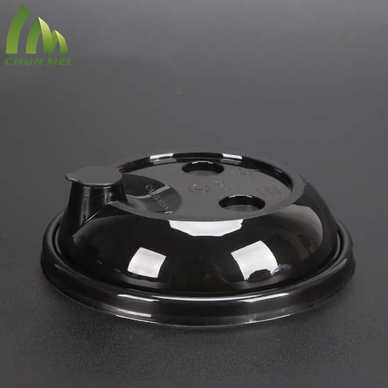 Bulk wholesale disposable cheap plastic juice milk tea cup PET lid dome lid clear cap with hole
