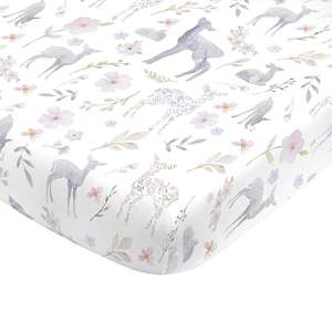 Super Lembut Bunga Nursery Crib Fitted Sheet