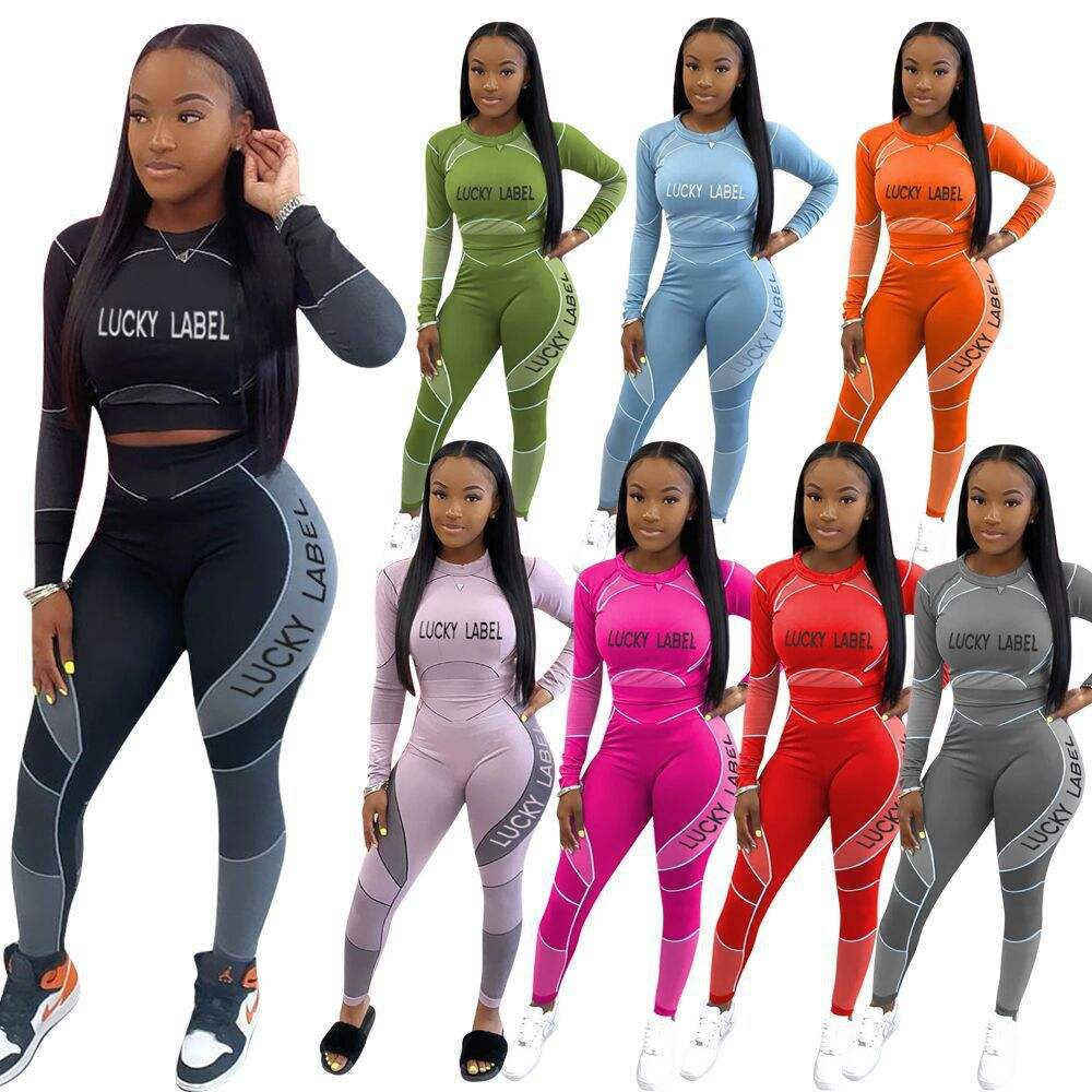 2020 Women Lucky Label Jumpsuits Two Piece Set Women 2 Piece Set Outfits Joggers Tracksuits Suits Sets Streetwear