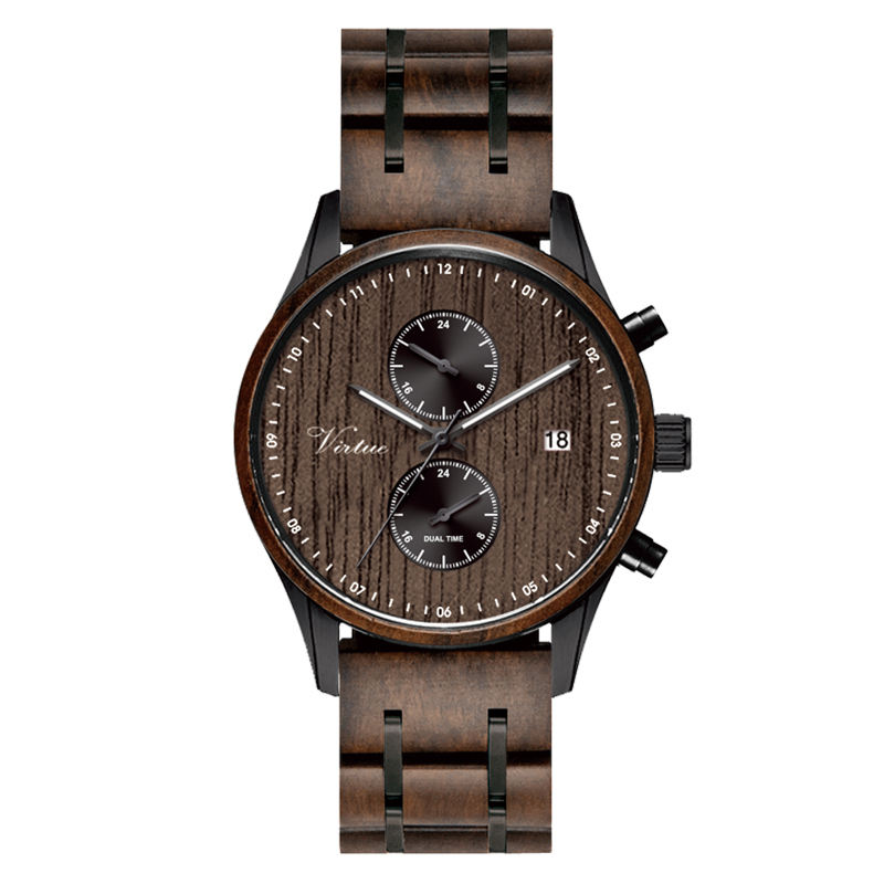 2020 New Design Luxury Wooden Watches Dual Time Men Wrist Custom Logo Low MOQ Chronograph Quartz Stainless Steel Wood Watch