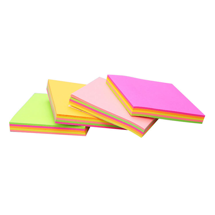 100 sheets per pad 3x3 inches square neon rainbow color fluorescent paper gum sticky note