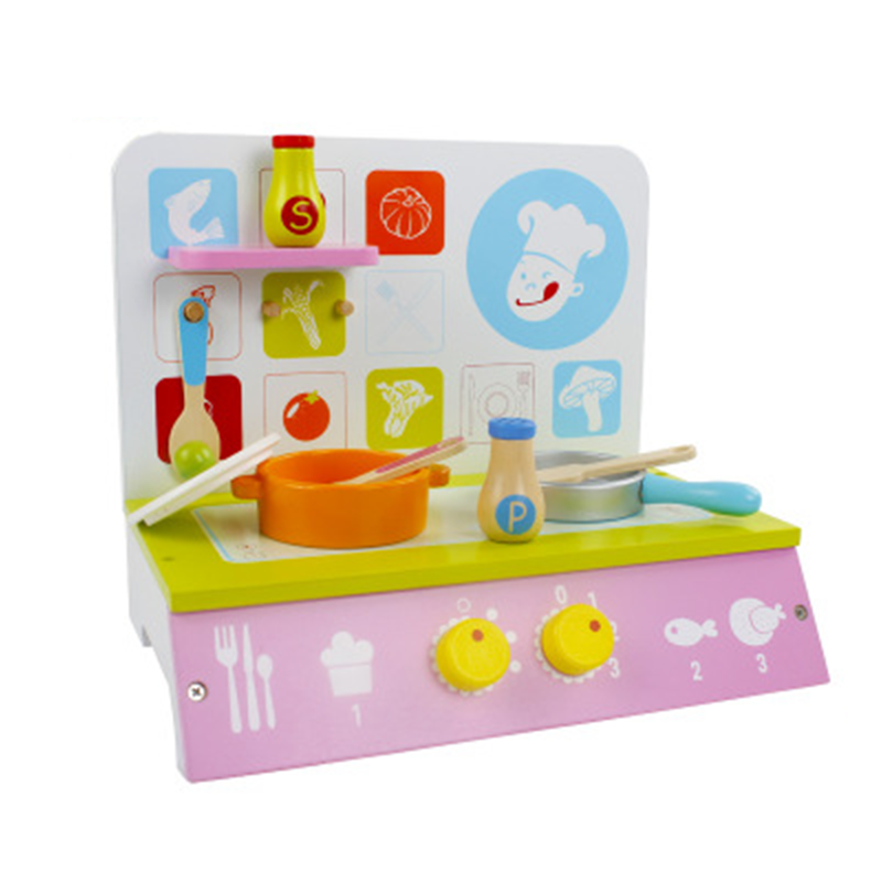 Mini Learning Education Wooden Set Toy Pretend Play Children Cute Pink Kitchen Cooking Set