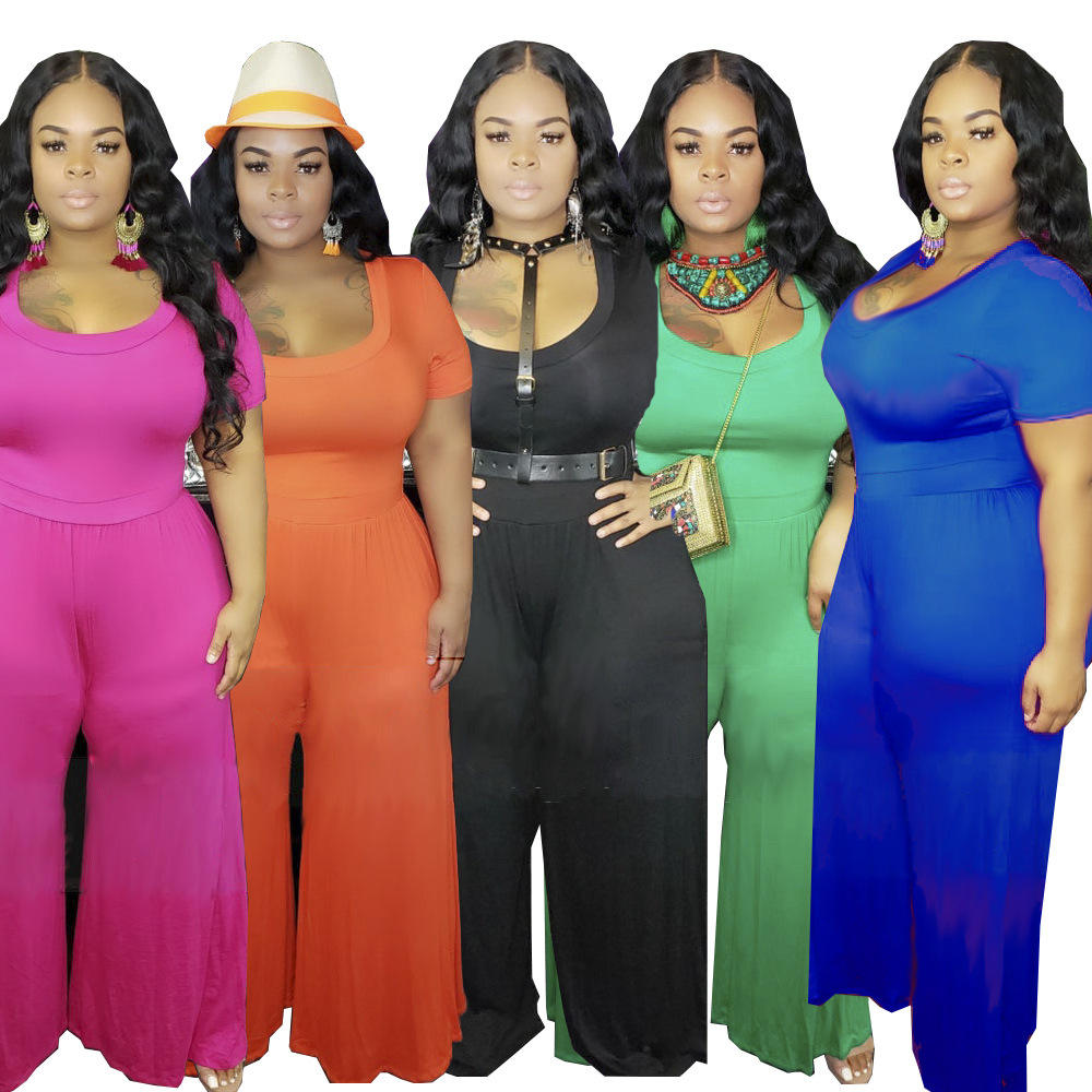 Summer wholesale 1 Pieces Plus Size women clothing solid color 5XL Casual Ladies Top and Pants Suit Jumpsuit for female