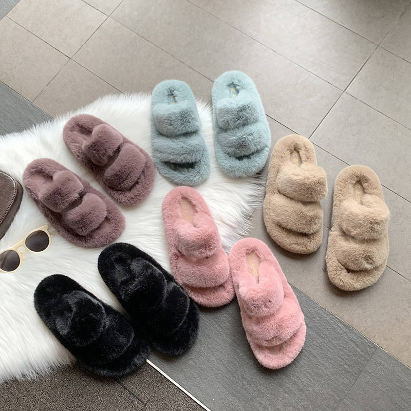 New Arrival Factory Winter Wholesale non-slip Fluffy Furry fur slides sheepskin Faux Fur winter Womens Ladies Home Slippers