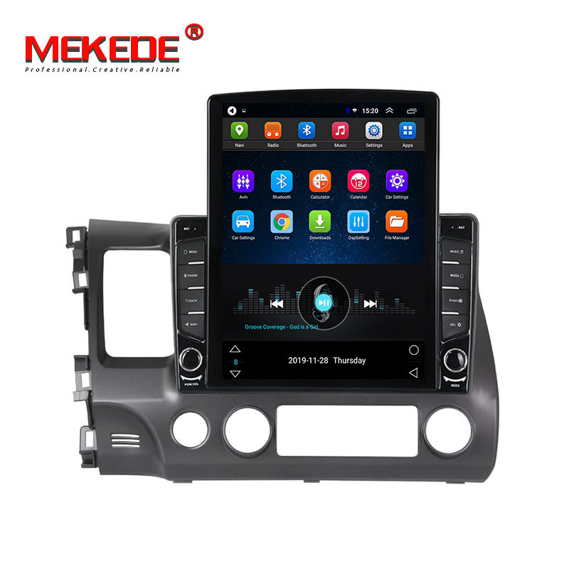 MEKEDE TESLA DVD Player Mobil Android 9, 1G + 16G Quad Core untuk Civic 2006-2011 Radio Stereo Audio GPS WIFI BT IPS DSP 2.5D 1024*768