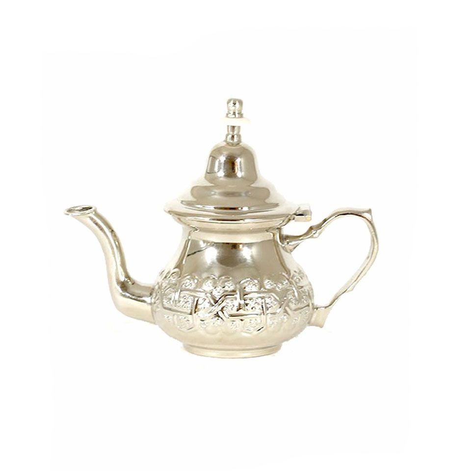 Brass Silver Matt Plated Finishing Moroccan Teapot